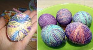 Покраска яиц нитками