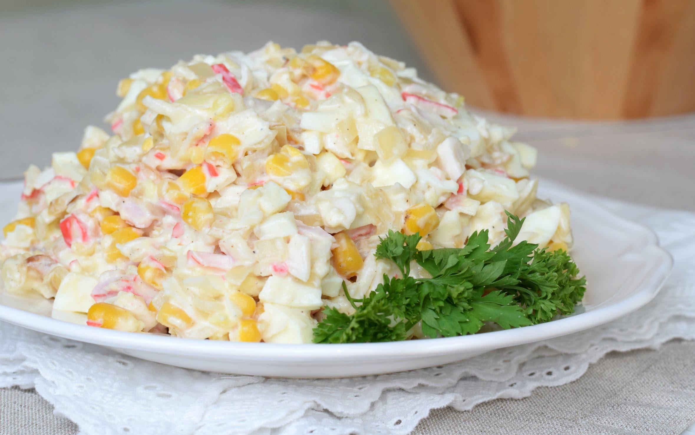 Салаты слоеные с кукурузой рецепты с